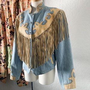 Vintage Denim Fringe Jacket